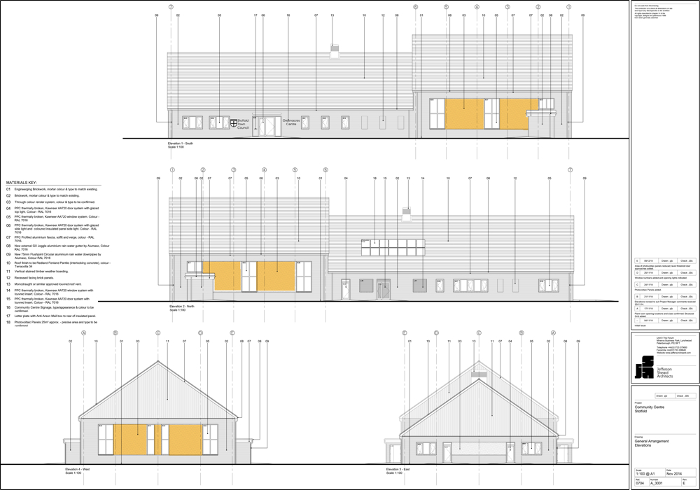 F:General Job Files - New Projects704 - Stotfold Community Centre9 DrawingsJSA dwg3000's- Elevations704_A_3001 - GA El